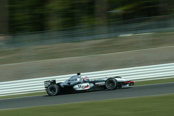 2003 German Grand Prix, Friday Qualifying, Hockenheim, Germany.1st August 2003.Kimi Raikkonen, Team McLaren Mercedes MP4/17D, action.World Copyright LAT Photographic.Digital Image Only.