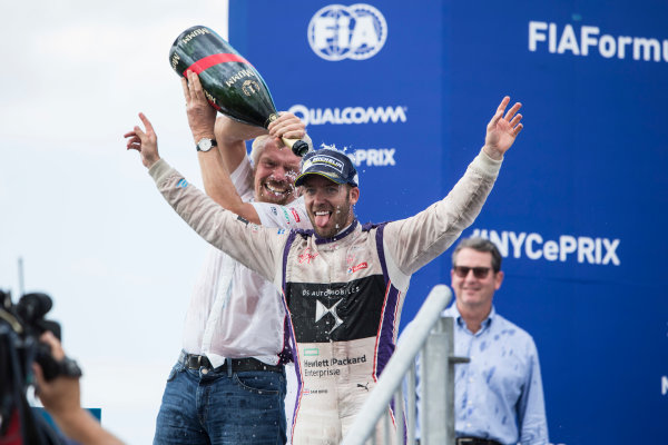 2016/2017 FIA Formula E Championship. Round 9 - New York City ePrix, Brooklyn, New York, USA. Saturday 15 July 2017. Sir Richard Branson and Sam Bird (GBR), DS Virgin Racing, Spark-Citroen, Virgin DSV-02, spray the champagne on the podium. Photo: Andrew Ferraro/LAT/Formula E ref: Digital Image _FER8713