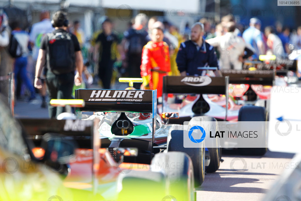 2014 GP2 Series Round 3 - Race 2 Monte Carlo, Monaco. Saturday 24 May 2014. The GP2 cars in the pit lane Photo: Sam Bloxham/GP2 Series Media Service. ref: Digital Image _G7C2925