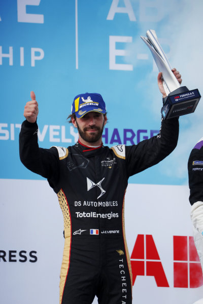 Jean-Eric Vergne (FRA), DS Techeetah, 2nd position, on the podium with his trophy