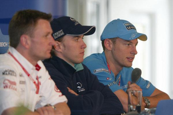 2002 Austrian Grand Prix - PreviewA1 Ring, Austria. 9th April 2002.Jenson Button, Renault R202, Nick Heidfeld, Sauber Petronas C21, and Allan McNish, Toyota TF102, press conference.World Copyright: Steve Etherington/LAT Photographicref: Digital Image Only