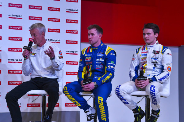 Linus Lundqvist and Anglo American Racing Fuels representatives talk to Alan Hyde on the Autosport Stage.