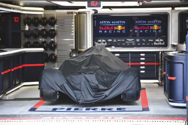 Car of Pierre Gasly, Red Bull Racing RB15 in the garage