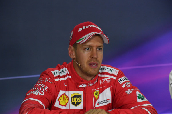 Sebastian Vettel (GER) Ferrari in the Press Conference at Formula One World Championship, Rd1, Australian Grand Prix, Qualifying, Albert Park, Melbourne, Australia, Saturday 25 March 2017.