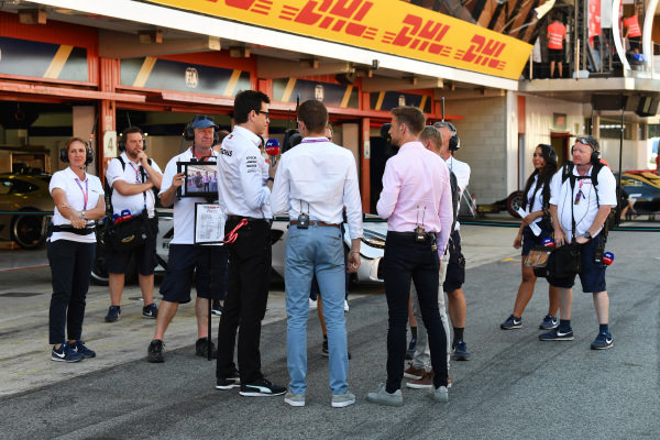 Toto Wolff, Executive Director (Business), Mercedes AMG, is interviewed by Paul di Resta, Jenson Button, and Simon Lazenby, Sky Sports F1, after the race