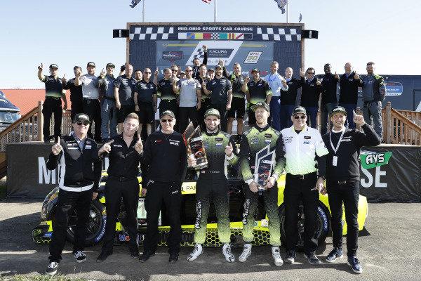 Winners #14 AIM Vasser Sullivan Lexus RC F GT3, GTD: Richard Heistand, Jack Hawksworth with team and Lexus personnel