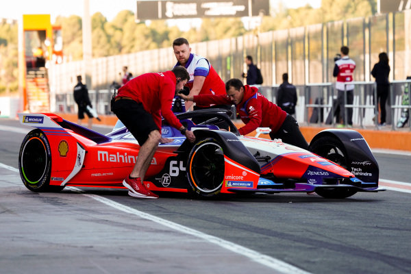Jérôme d'Ambrosio (BEL), Mahindra Racing, M6Electro is pushed back into the garage