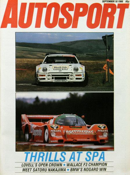 Cover of Autosport magazine, 18th September 1986