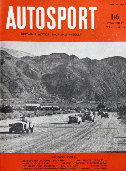 Cover of Autosport magazine, 27th June 1952