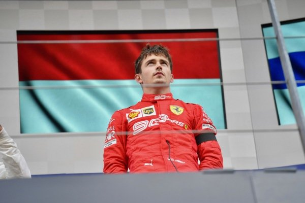 Charles Leclerc, Ferrari, 1st position, on the podium