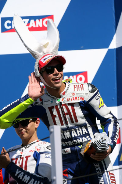Misano, Italy. 4th - 6th September 2009.Valentino Rossi Fiat Yamaha dons his donkey ears and milks his home town fans.World Copyright: Martin Heath/LAT Photographicref: Digital Image SE5K9124