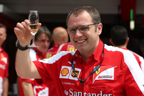 Stefano Domenicali (ITA) Ferrari General Director celebrates the 200th Grand Prix start of his driver Fernando Alonso (ESP) Ferrari, with champagne. Formula One World Championship, Rd2, Malaysian Grand Prix, Race, Sepang, Malaysia, Sunday 24 March 2013.