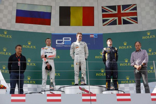 (L to R): Jean Alesi (FRA), Sergey Sirotkin (RUS) Rapax, race winner Stoffel Vandoorne (BEL) ART Grand Prix, Alex Lynn (GBR) DAMS and Gerhard Berger (AUT) Former F1 driver celebrate on the podium at GP2 Series, Rd4, Spielberg, Austria, 19-21 June 2015.