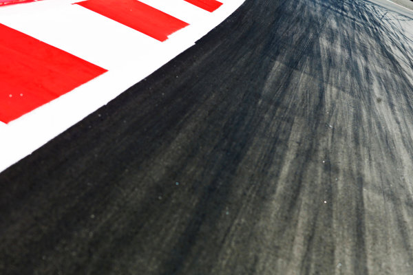 Sochi Autodrom, Sochi, Russia. Thursday 8 October 2015. Tyre marks on the track. World Copyright: Alastair Staley/LAT Photographic ref: Digital Image _79P8685