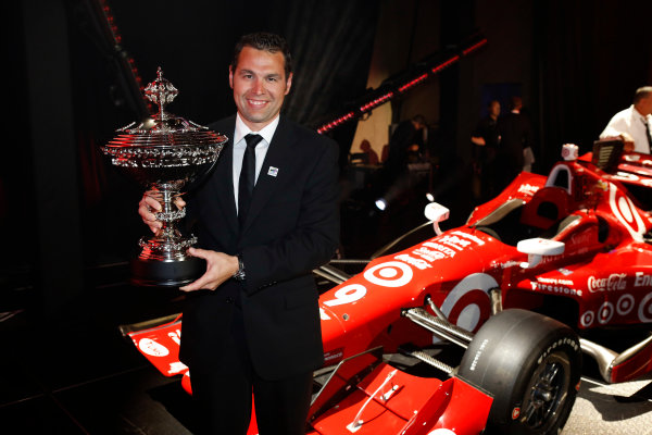 31 August, 2015, San Francisco, California USA Nick Ford poses with Scott Dixon's Astor Challenge Cup trophy ?2015, Phillip Abbott LAT Photo USA