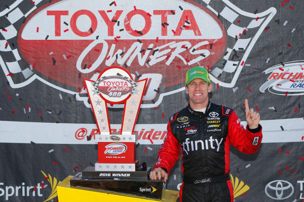 22-24 April, 2016, Richmond, Virginia USA  Carl Edwards, XFINITY Toyota Camry celebrates in victory lane ©2016, Russell LaBounty LAT Photo USA