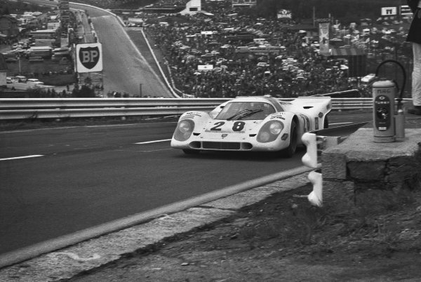 1970 Spa Francorchamps 1000 kms. Spa Francorchamps, Belgium. 17th May 1970. Rd 6. Vic Elford/Kurt Ahrens, Jr. (Porsche 917K), 3rd position, action.  World Copyright: LAT Photographic. Ref: L70 - 450 - 20.