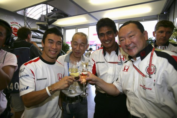 2006 German Grand Prix - Friday Practice Hockenheim, Germany. 27th - 30th July. Takuma Sato, Aguri Suzuki, Yasuhiro Wada, portrait. World Copyright: Lorenzo Bellanca/LAT Photographic ref: Digital Image ZD2J0410