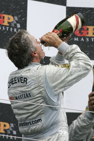 2006 Grand Prix Masters.Silverstone, England. 11th 13th August 2006.Sunday Race.Eddie Cheever celebrates victory on the podium.World Copyright: Alastair Staley/LAT Photographicref: Digital Image _F6E3368