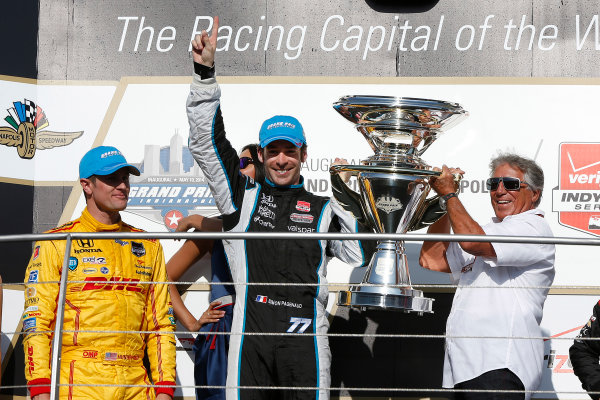 8-10 May, 2014, Indianapolis, Indiana, USA Simon Pagenaud receives his winners trophy from Mario Andretti ©2014, Michael L. Levitt LAT Photo USA