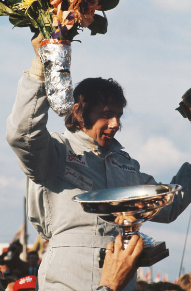 1973 Belgian Grand Prix.  Zolder, Belgium. 18-20th May 1973.  Jackie Stewart, Tyrrell, 1st position, on the podium.  Ref: 73BEL01. World Copyright: LAT Photographic