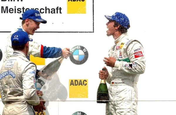 (L to R): 3rd placed Adrian Sutil (GER) HBR Motorsport GmbH, race winner Sebastian Vettel (GER) Eifelland Racing and 2 nd placed Timo Lienemann (GER)Mucke Motorsport. Formula BMW ADAC Championship, Rd 13&14, Nurburgring, Germany. 17 August 2003.  DIGITAL IMAGE