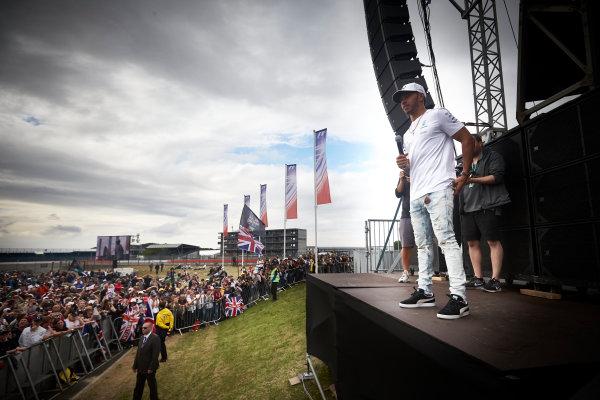 Silverstone, Northamptonshire, UK.  Sunday 16 July 2017. Lewis Hamilton, Mercedes AMG, on stage. World Copyright: Steve Etherington/LAT Images  ref: Digital Image SNE10620