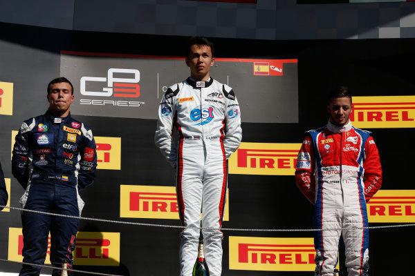 2016 GP3 Series Round 1 Circuit de Catalunya, Barcelona, Spain. Sunday 15 May 2016. Alexander Albon (THA, ART Grand Prix), Oscar Tunjo (COL, Jenzer Motorsport) & Antonio Fuoco (ITA, Trident)  Photo: Sam Bloxham/GP3 Series Media Service. ref: Digital Image _R6T9456