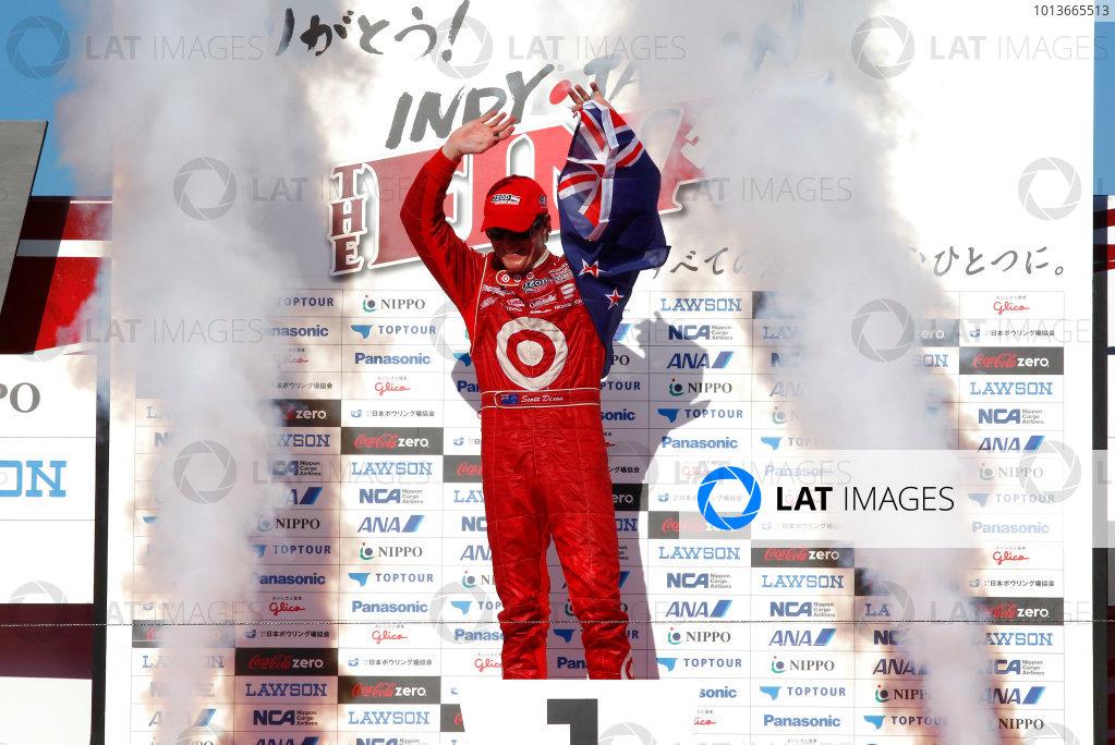 15-18 September, 2011, Twin Ring Motegi JapanScott Dixon celebrates on the podium.(c)2011, Phillip AbbottLAT Photo USA