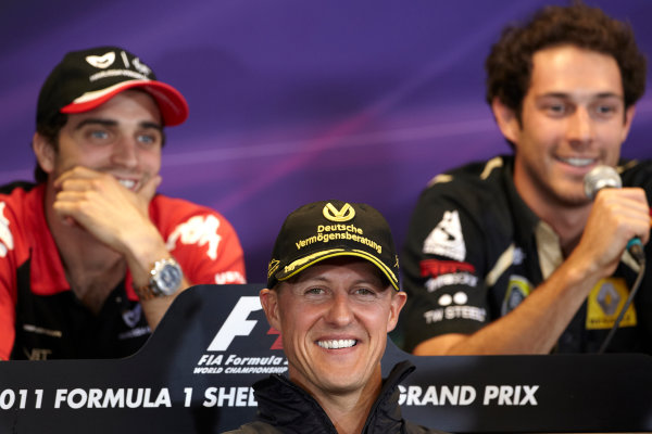 Spa-Francorchamps, Spa, Belgium 25th August 2011. Michael Schumacher, Mercedes GP W02, Jerome d'Ambrosio, Virgin MVR-02 Cosworth, and Bruno Senna, Lotus Renault GP R31, in the Thursday press conference. Portrait. Press Conferences.  World Copyright: Steve Etherington/LAT Photographic ref: Digital Image SNE29712