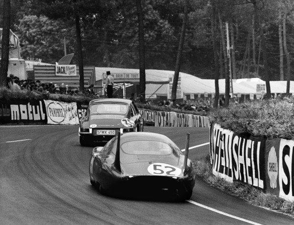 Le Mans, France. 18th - 19th June 1966. Alain Bertaut/Pierre Lelong (CD SP66 Peugeot), retired, follows Franc/Jean Kerguen (Porsche 911S), 14th position, action. World Copyright: LAT Photographic Ref:  Autocar Used Pic 24th June 1966 Pg 1301.