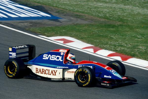 Imola, Italy. 23rd - 25th April 1993.Rubens Barrichello (Jordan 931-Hart), retired, action. World Copyright: LAT Photographic.Ref:  Colour Transparency.