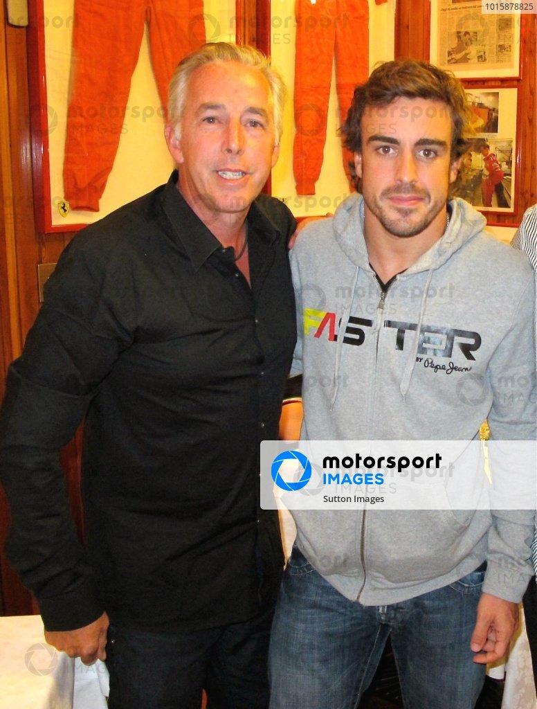Keith Sutton (GBR) Sutton Images CEO and Fernando Alonso (ESP) Ferrari at the Montana Restaurant in Maranello. Formula One World Championship, Rd 14, Italian Grand Prix, Monza, Italy, Monday 13 September 2010.