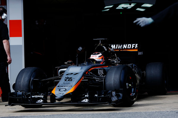 2015 F1 Pre Season Test 3 - Day 2 Circuit de Catalunya, Barcelona, Spain. Friday 27 February 2015. Nico Hulkenberg, Force India VJM08 Mercedes, leaves the garage. World Copyright: Sam Bloxham/LAT Photographic. ref: Digital Image _14P2804