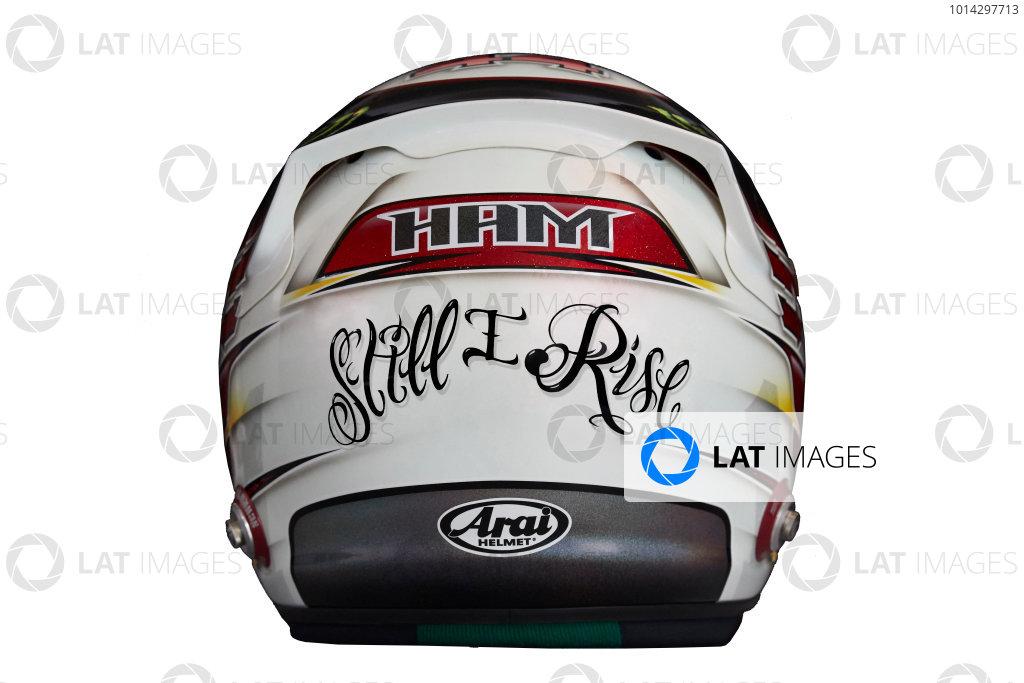 Circuit de Catalunya, Barcelona, Spain. Wednesday 25 February 2015. Helmet of Lewis Hamilton, Mercedes AMG.  World Copyright: Mercedes AMG F1 (Copyright Free FOR EDITORIAL USE ONLY) ref: Digital Image 2015_MERCEDES_HELMET_02