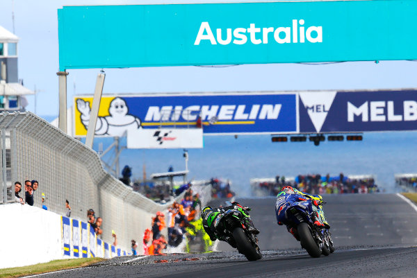 2017 MotoGP Championship - Round 16 Phillip Island, Australia. Sunday 22 October 2017 Valentino Rossi, Yamaha Factory Racing, Maverick Viñales, Yamaha Factory Racing, Johann Zarco, Monster Yamaha Tech 3 World Copyright: Gold and Goose / LAT Images ref: Digital Image 24464