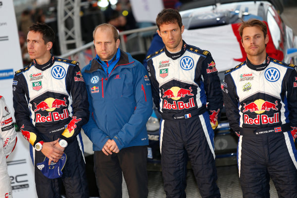 2015 World Rally Championship, Round 13, Rally of Wales GB, 12th - 15th November, 2015 Julien Ingrassia, Timo Gottschalk, Sebastien Ogier, Andreas Mikkelsen, podium  Worldwide Copyright: McKlein/LAT