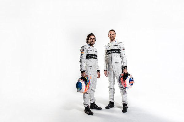 McLaren Honda MP4-31 Reveal. Woking, UK. Thursday 18 February 2016. Fernando Alonso, McLaren and Jenson Button, McLaren. Photo: McLaren (Copyright Free FOR EDITORIAL USE ONLY) ref: Digital Image Fernando Alonso & Jenson Button Portrait