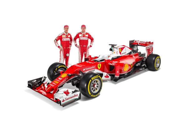 Ferrari SF16-H Reveal. Friday 19 February 2016. Sebastian Vettel, Ferrari and Kimi Raikkonen, Ferrari, with the Ferrari SF16-H. Photo: Ferrari (Copyright Free FOR EDITORIAL USE ONLY) ref: Digital Image 160011_new-SF16-h