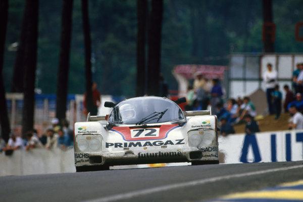 Le Mans, France. 11th - 12th June 1987.Pierre Yver/Bernard de Dryver/JŸrgen LŠssig (Porsche 962C), 2nd position, action. World Copyright: LAT PhotographicRef: 87LM12