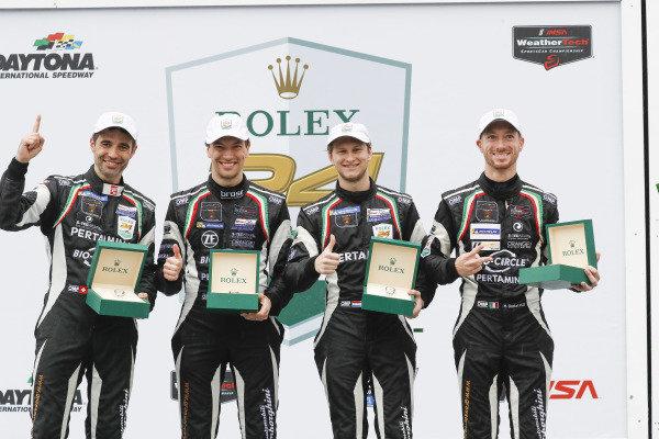 #11 GRT Grasser Racing Team Lamborghini Huracan GT3, GTD: Mirko Bortolotti, Christian Engelhart, Rik Breukers, Rolf Ineichen, podium