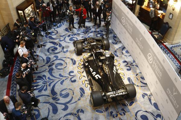 Kevin Magnussen, Haas F1 Team, Presenter Nicki Shields, William Storey, CEO Rich Energy, Guenther Steiner, Team Principal, Haas F1 and Romain Grosjean, Haas F1 Team