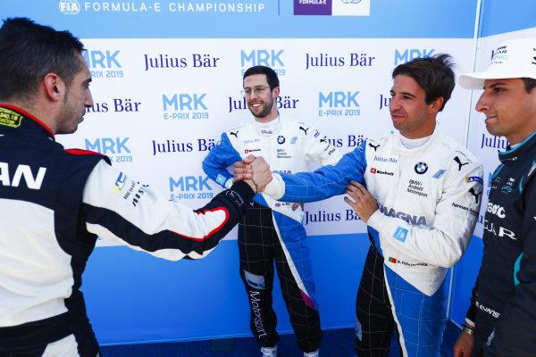 Sébastien Buemi (CHE), Nissan e.Dams, Alexander Sims (GBR) BMW I Andretti Motorsports, Antonio Felix da Costa (PRT), BMW I Andretti Motorsports, and Nelson Piquet Jr. (BRA), Panasonic Jaguar Racing, after Qualifying