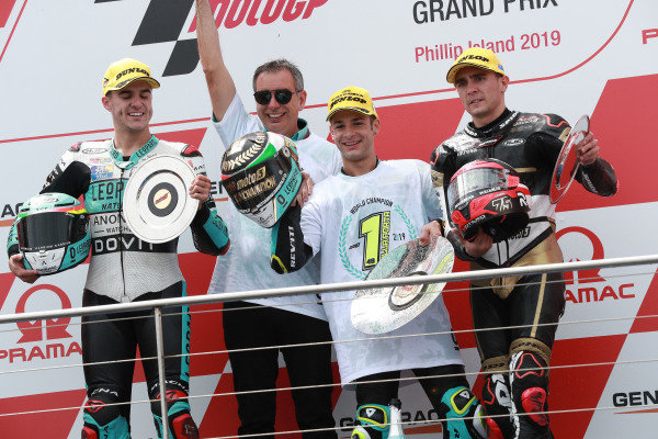 Podium: race winner Lorenzo Dalla Porta, Leopard Racing, second place Marcos Ramirez, Leopard Racing, third place Albert Arenas, ?ngel Nieto Team