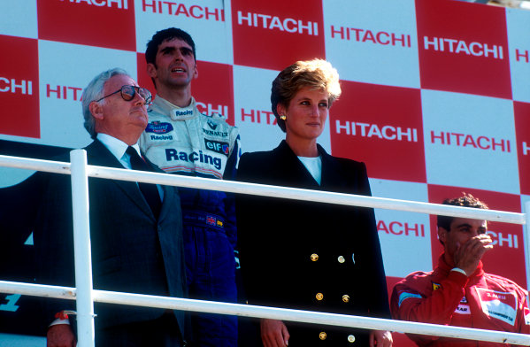 1994 British Grand Prix.Silverstone, England.8-10 July 1994.Damon Hill (Williams Renault) 1st position and Jean Alesi (Ferrari) 2nd position on the podium. HRH the Princess of Wales stands in front.Ref-94 GB 01.World Copyright - LAT Photographic