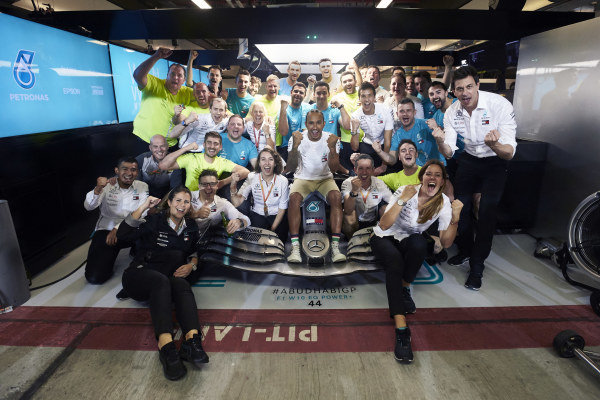 Lewis Hamilton, Mercedes AMG F1, 1st position, celebrates with his team and car in the garage