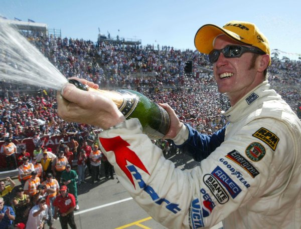 2002 Australian V8 SupercarsAdelaide Clipsal 500. Australia. 17th March 2002Holden driver Greg Murphy on the podium after finishing second in race 2 in Adelaide today.World Copyright: Mark Horsburgh/LAT Photographicref: Digital Image Only