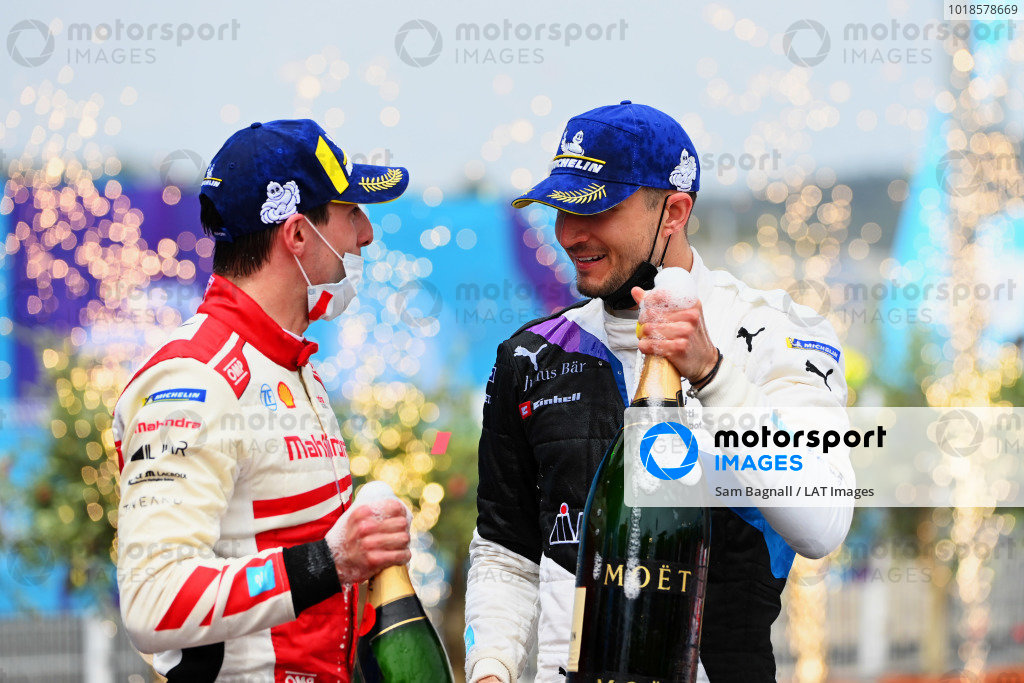 Alex Lynn (GBR), Mahindra Racing, 2nd position, and Jake Dennis (GBR), BMW I Andretti Motorsport, 1st position, on the podium