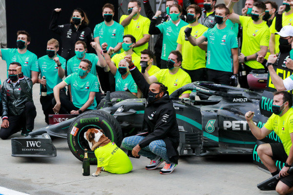 Lewis Hamilton, Mercedes-AMG Petronas F1, 1st position, his dog Roscoe, and the Mercedes team celebrate after having secured a seventh world drivers championship title