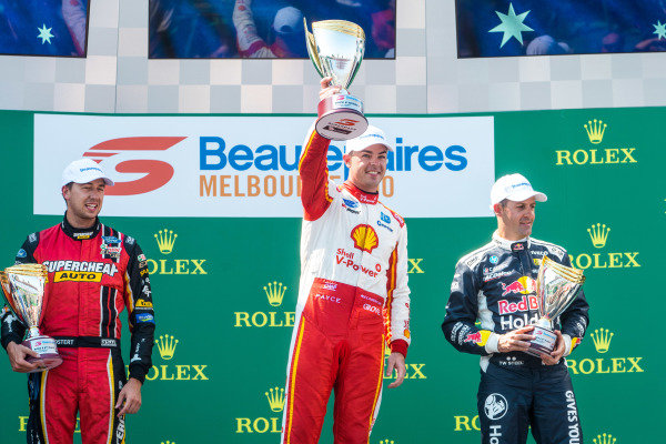Chaz Mostert, Tickford Racing Ford, Scott McLaughlin, DJR Team Penske Ford, Jamie Whincup, Triple Eight Race Engineering Holden